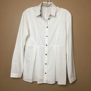 Burberry White Shirt Button Down Blouse Medium